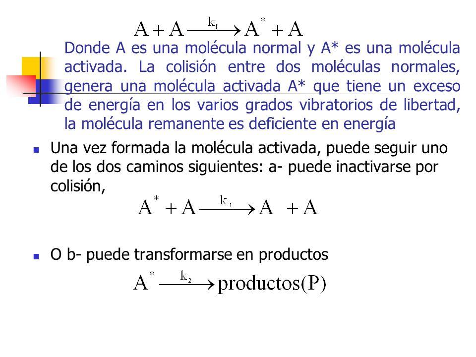 Donde A es una molécula normal y A* es una molécula activada. La colisión entre dos moléculas normales, genera una molécula activada A* que tiene un e