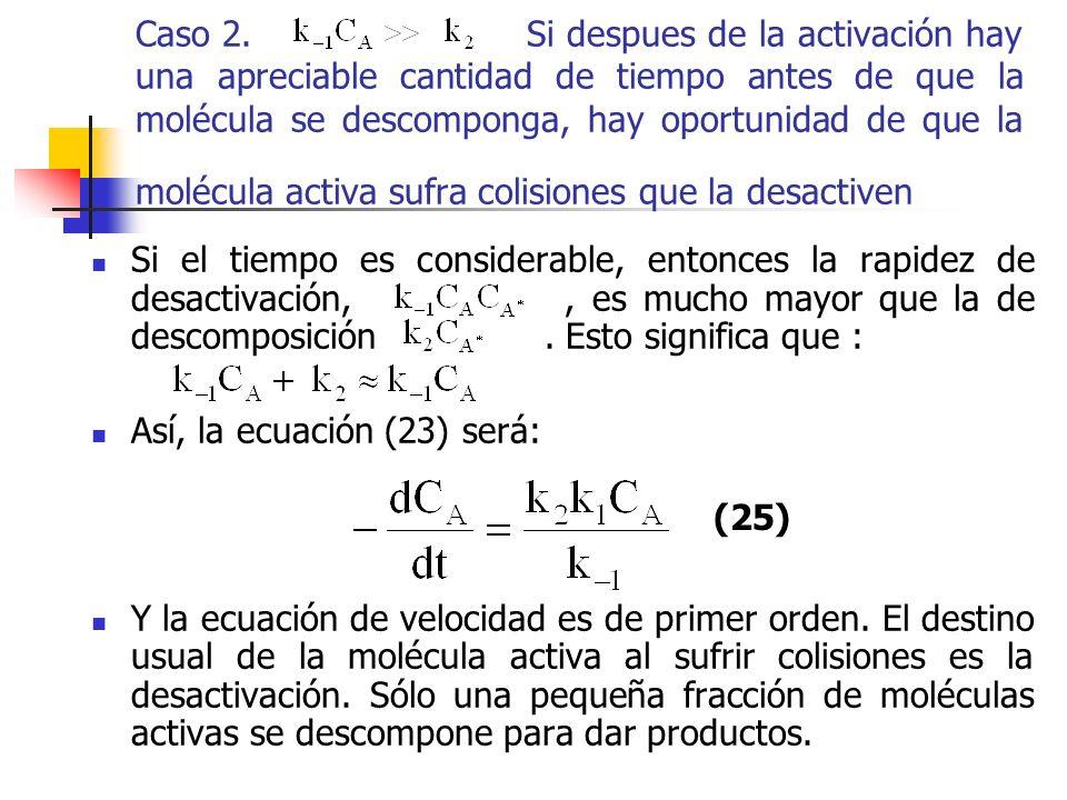 Caso 2. Si despues de la activación hay una apreciable cantidad de tiempo antes de que la molécula se descomponga, hay oportunidad de que la molécula
