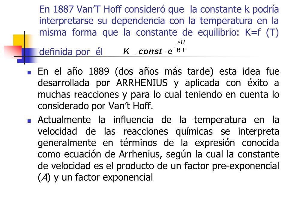 En 1887 VanT Hoff consideró que la constante k podría interpretarse su dependencia con la temperatura en la misma forma que la constante de equilibrio