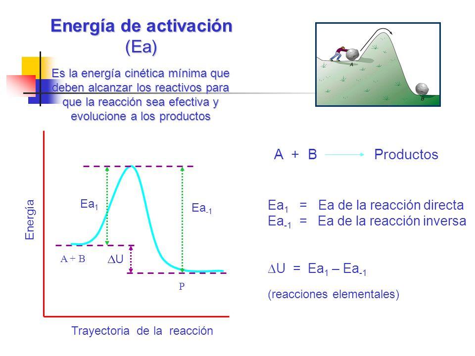 Energía de activación (Ea) Trayectoria de la reacción Energía A + B P Ea -1 Ea 1 U Ea 1 = Ea de la reacción directa Ea -1 = Ea de la reacción inversa