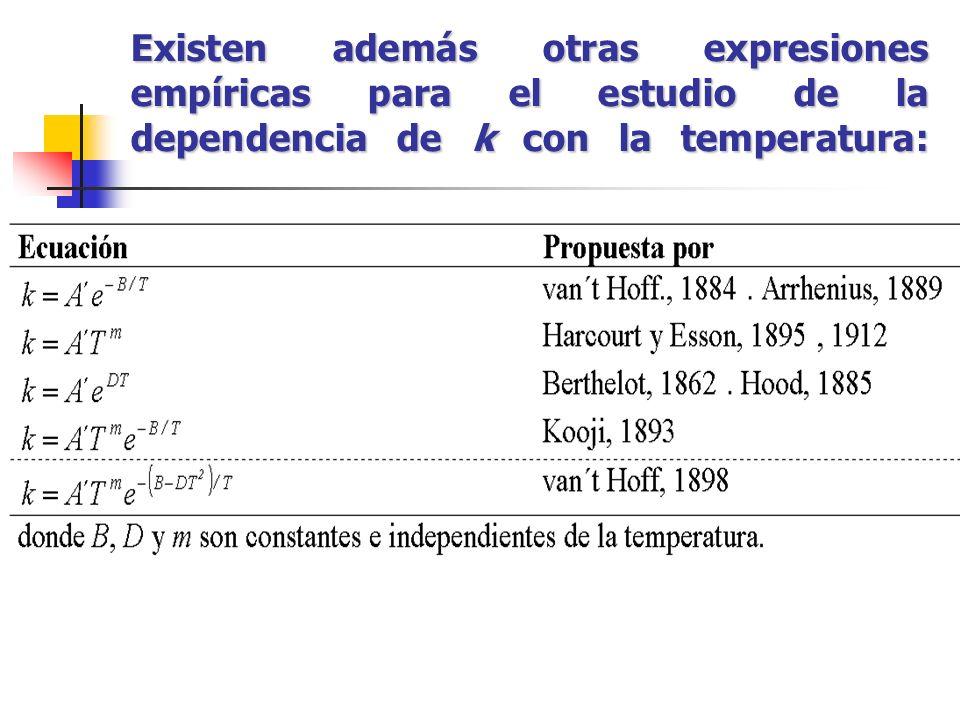 Existen además otras expresiones empíricas para el estudio de la dependencia de k con la temperatura: