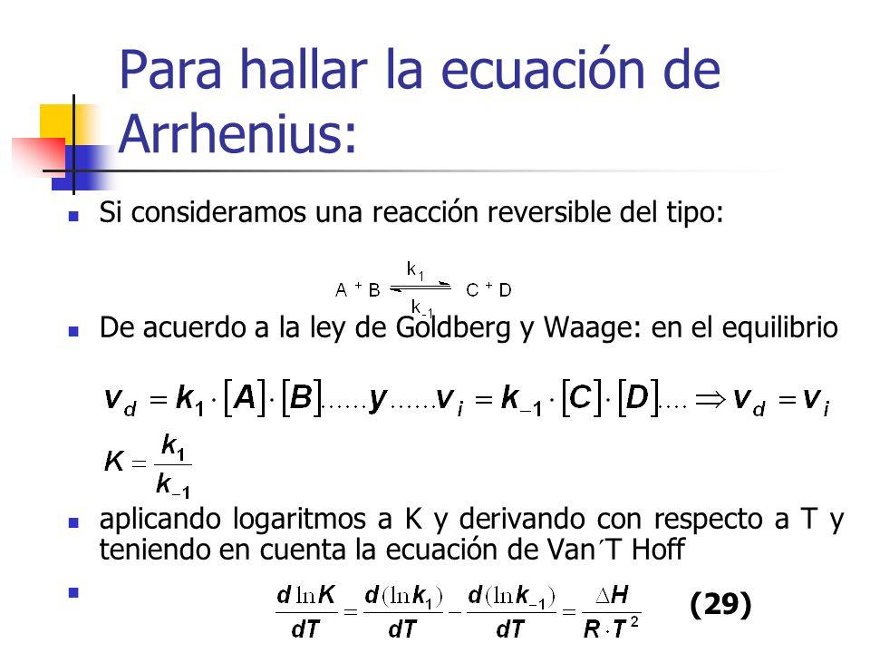 Para hallar la ecuación de Arrhenius: Si consideramos una reacción reversible del tipo: De acuerdo a la ley de Goldberg y Waage: en el equilibrio apli