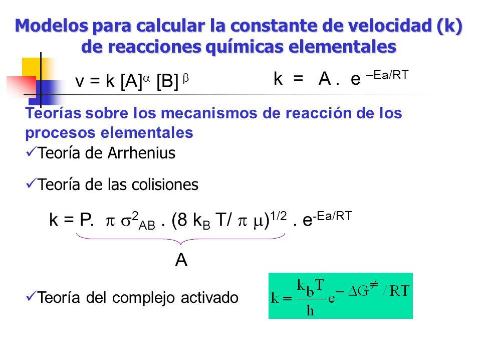 Modelos para calcular la constante de velocidad (k) de reacciones químicas elementales Teorías sobre los mecanismos de reacción de los procesos elemen