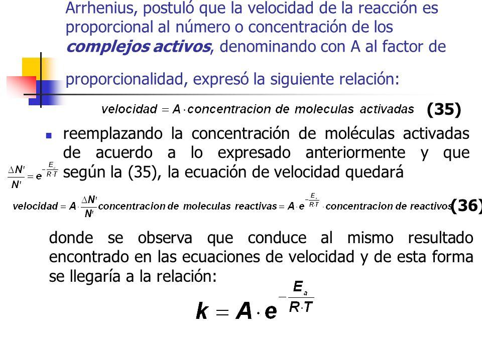 Arrhenius, postuló que la velocidad de la reacción es proporcional al número o concentración de los complejos activos, denominando con A al factor de