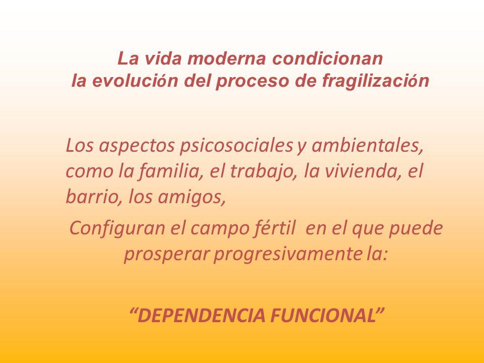 La vida moderna condicionan la evoluci ó n del proceso de fragilizaci ó n Los aspectos psicosociales y ambientales, como la familia, el trabajo, la vi