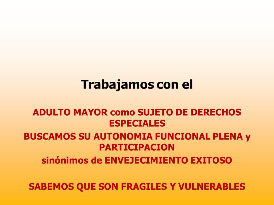 Trabajamos con el ADULTO MAYOR como SUJETO DE DERECHOS ESPECIALES BUSCAMOS SU AUTONOMIA FUNCIONAL PLENA y PARTICIPACION sinónimos de ENVEJECIMIENTO EX