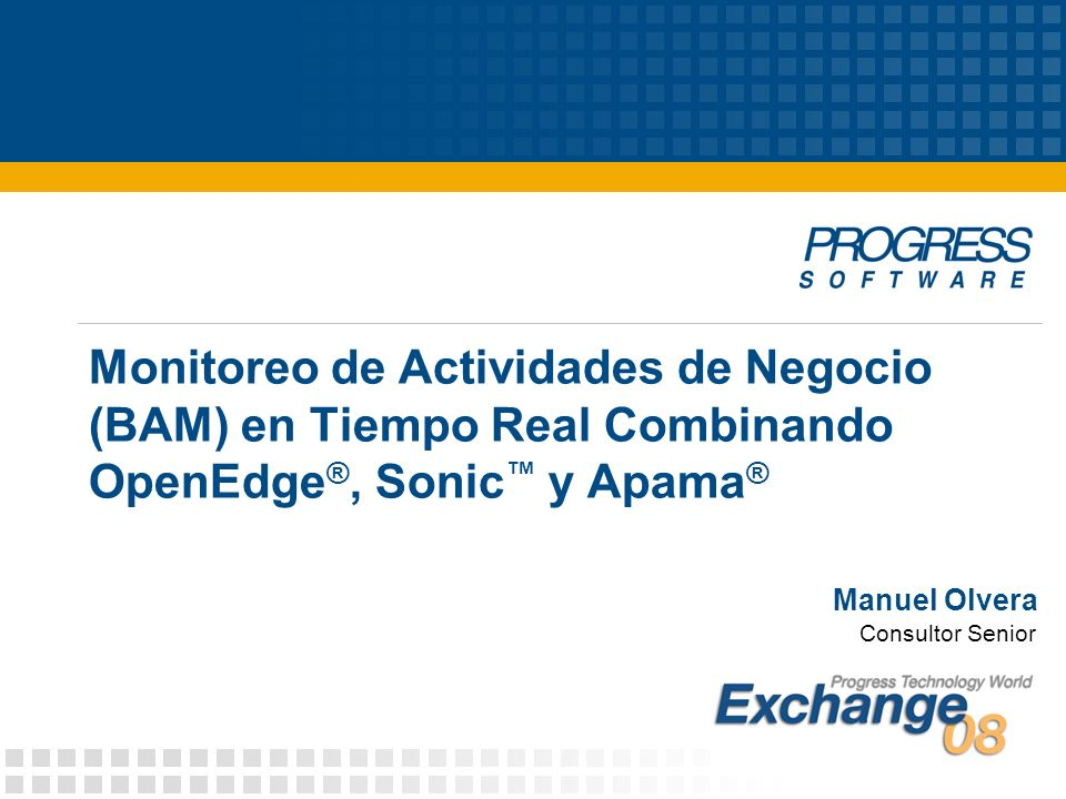12 © 2008 Progress Software Corporation DEV-42: Achieving Real-time BAM with OpenEdge, Sonic and Apama ¿Qué es agregar CEP.