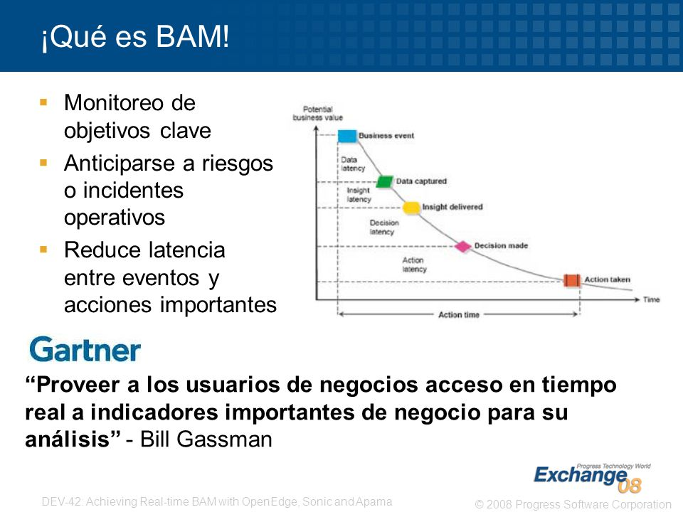 8 © 2008 Progress Software Corporation DEV-42: Achieving Real-time BAM with OpenEdge, Sonic and Apama ¡Pero....