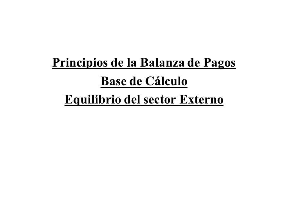 Principios de la Balanza de Pagos Base de Cálculo Equilibrio del sector Externo