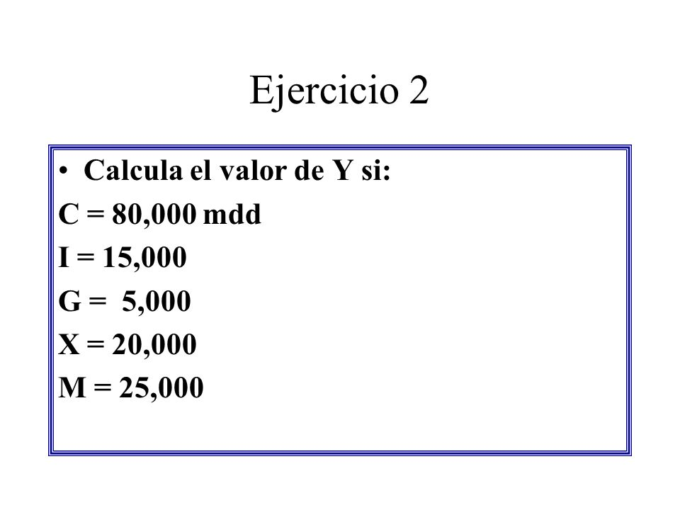 Ejercicio 2 Calcula el valor de Y si: C = 80,000 mdd I = 15,000 G = 5,000 X = 20,000 M = 25,000