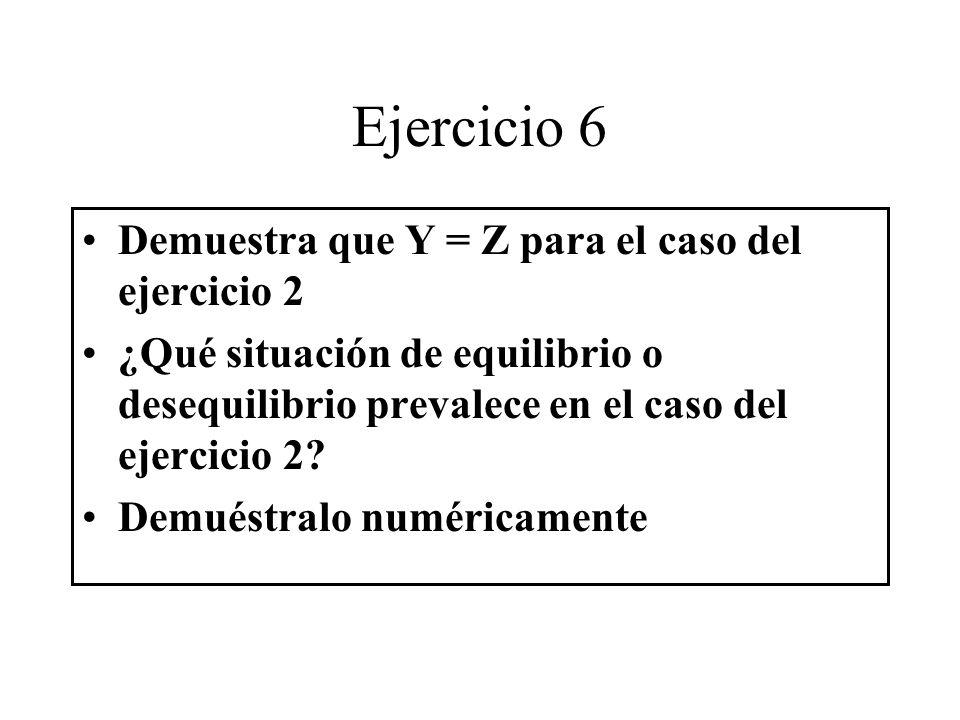Ejercicio 6 Demuestra que Y = Z para el caso del ejercicio 2 ¿Qué situación de equilibrio o desequilibrio prevalece en el caso del ejercicio 2? Demués