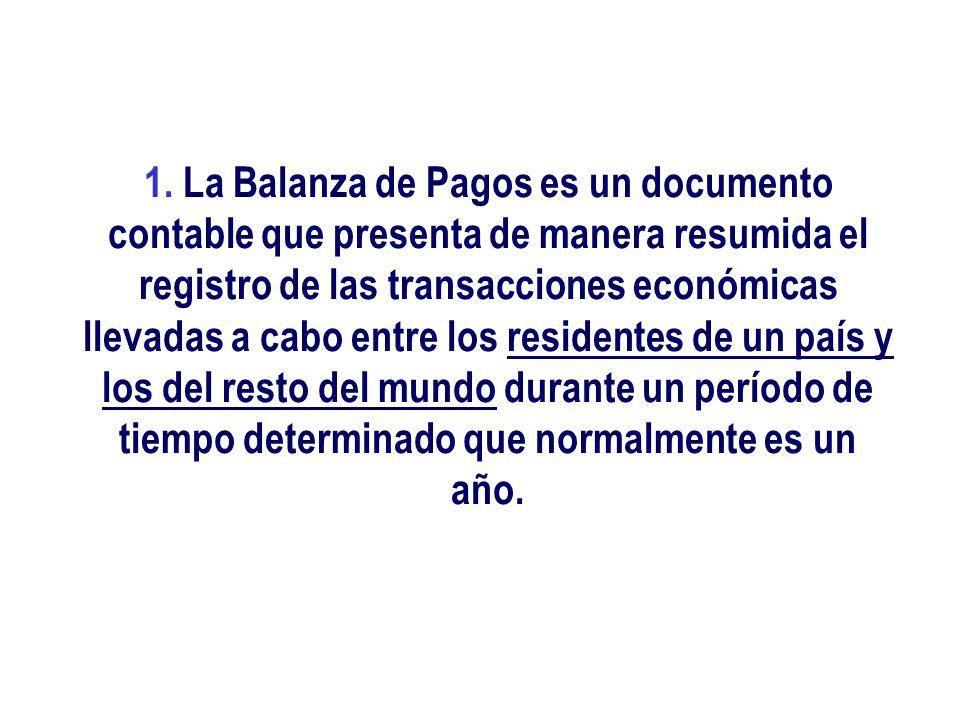 1. La Balanza de Pagos es un documento contable que presenta de manera resumida el registro de las transacciones económicas llevadas a cabo entre los