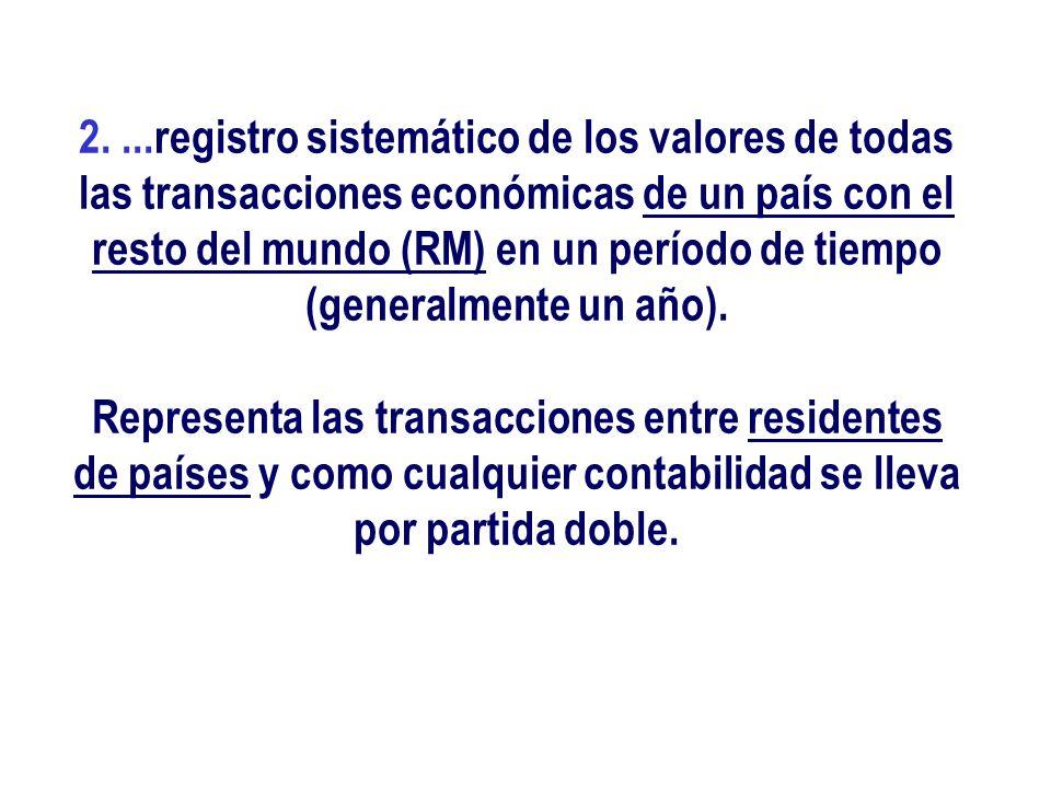 2....registro sistemático de los valores de todas las transacciones económicas de un país con el resto del mundo (RM) en un período de tiempo (general