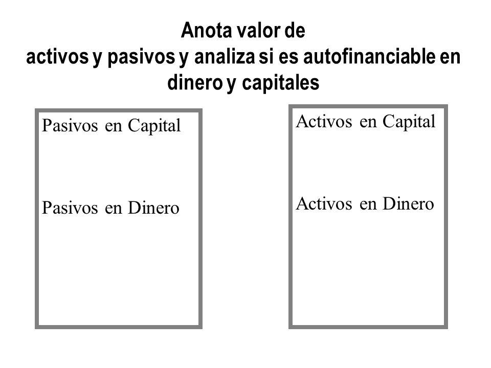 Anota valor de activos y pasivos y analiza si es autofinanciable en dinero y capitales Pasivos en Capital Pasivos en Dinero Activos en Capital Activos