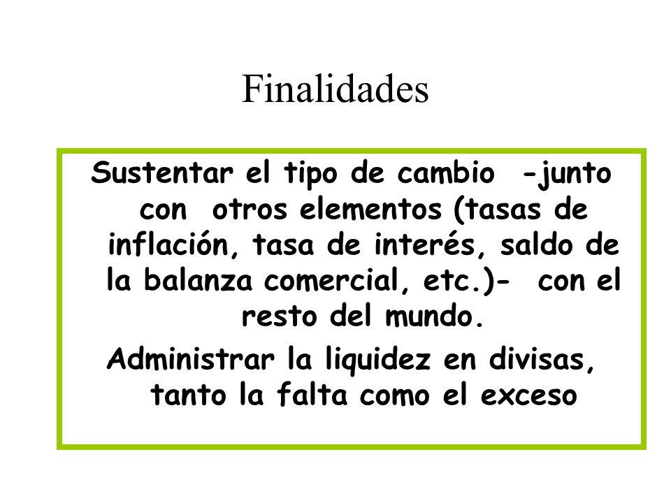 Finalidades Sustentar el tipo de cambio -junto con otros elementos (tasas de inflación, tasa de interés, saldo de la balanza comercial, etc.)- con el