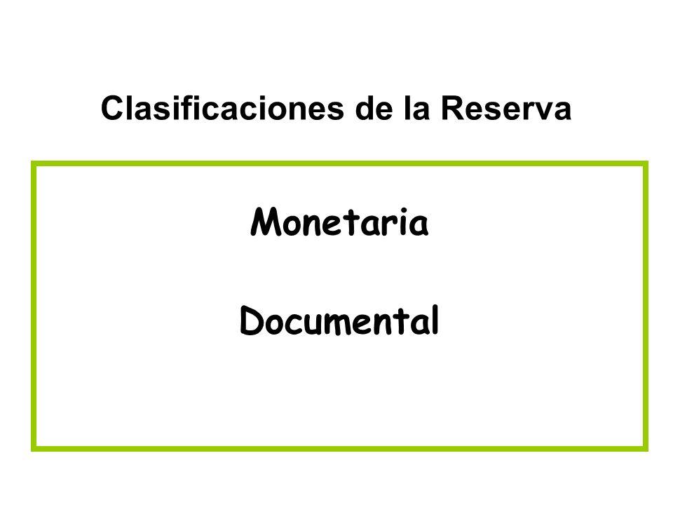 Clasificaciones de la Reserva Monetaria Documental