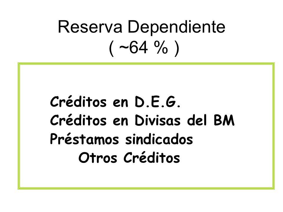 Reserva Dependiente ( ~64 % ) Créditos en D.E.G. Créditos en Divisas del BM Préstamos sindicados Otros Créditos