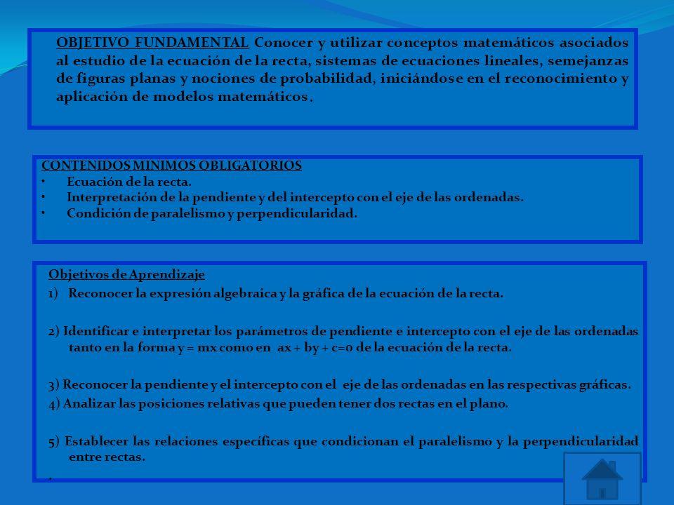 OBJETIVO FUNDAMENTAL Conocer y utilizar conceptos matemáticos asociados al estudio de la ecuación de la recta, sistemas de ecuaciones lineales, semeja
