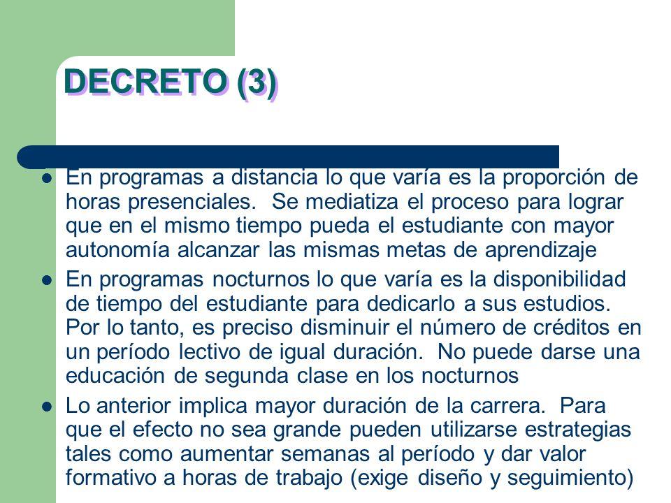 DECRETO (2) 1 Crédito = 48 horas de trabajo por parte del estudiante incluidas las horas presenciales y no presenciales. Por lo general, en asignatura