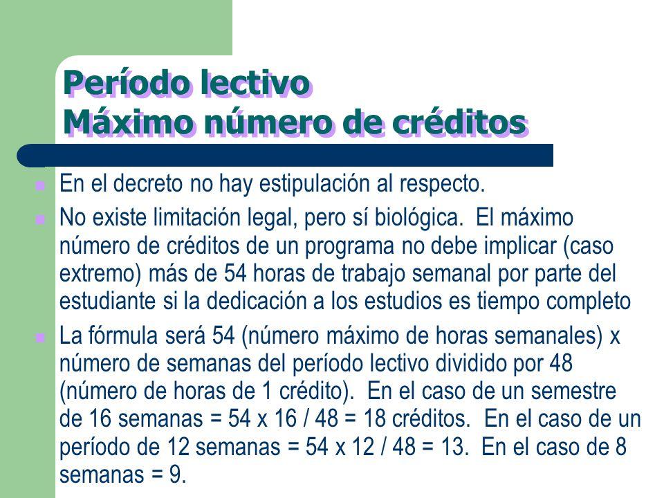 VIGENCIA Para todos los programas que se creen a partir de la fecha del decreto el uso de créditos académicos será obligatorio para fines de informaci