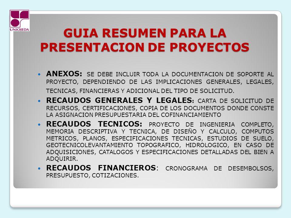 GUIA RESUMEN PARA LA PRESENTACION DE PROYECTOS ANEXOS: SE DEBE INCLUIR TODA LA DOCUMENTACION DE SOPORTE AL PROYECTO, DEPENDIENDO DE LAS IMPLICACIONES