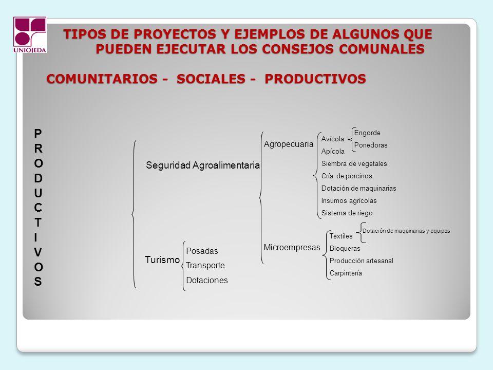 TIPOS DE PROYECTOS Y EJEMPLOS DE ALGUNOS QUE PUEDEN EJECUTAR LOS CONSEJOS COMUNALES COMUNITARIOS - SOCIALES - PRODUCTIVOS TIPOS DE PROYECTOS Y EJEMPLO