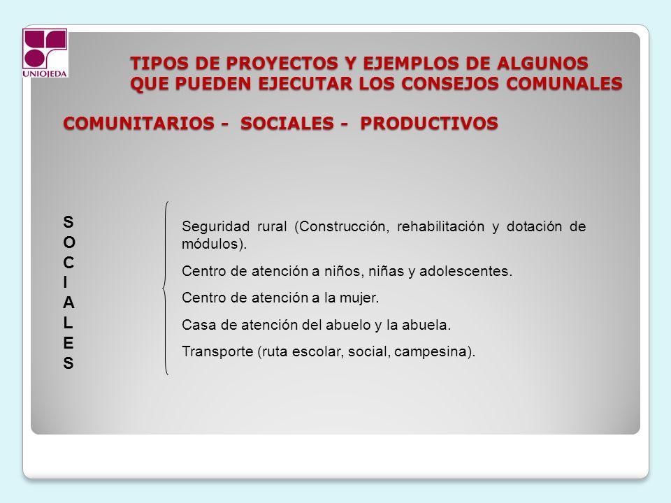 TIPOS DE PROYECTOS Y EJEMPLOS DE ALGUNOS QUE PUEDEN EJECUTAR LOS CONSEJOS COMUNALES COMUNITARIOS - SOCIALES - PRODUCTIVOS SOCIALESSOCIALES Seguridad r