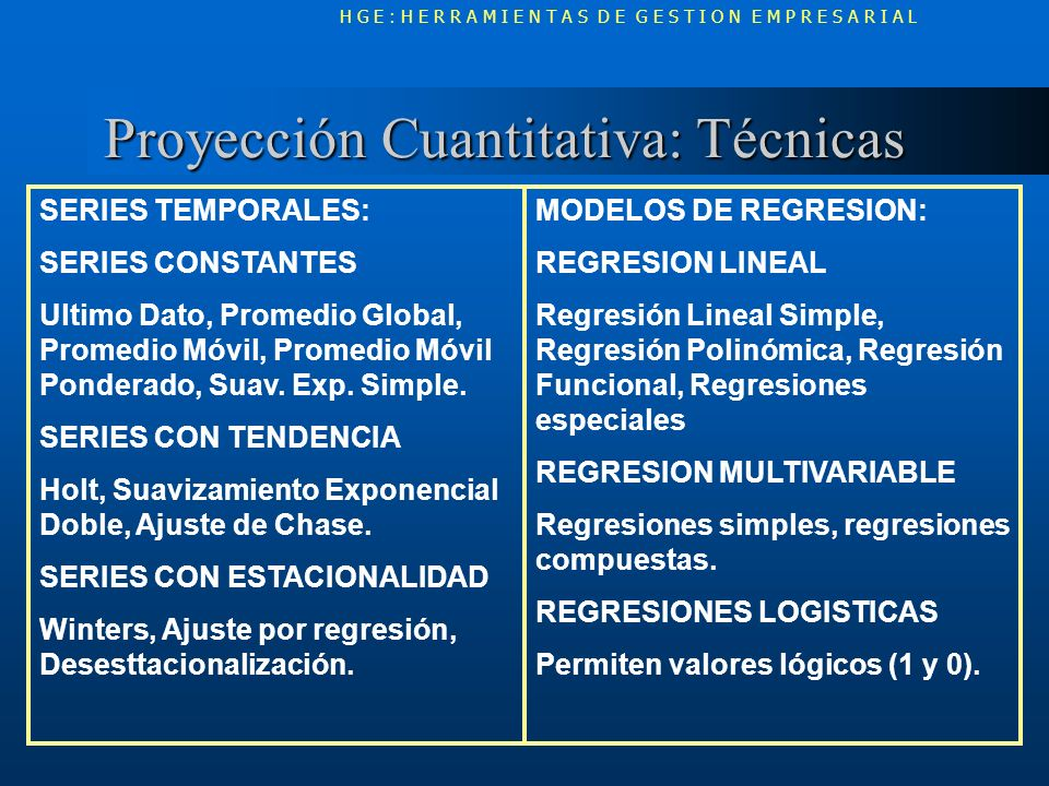 Proyección Cuantitativa: Técnicas Proyección Cuantitativa: Técnicas H G E : H E R R A M I E N T A S D E G E S T I O N E M P R E S A R I A L SERIES TEM