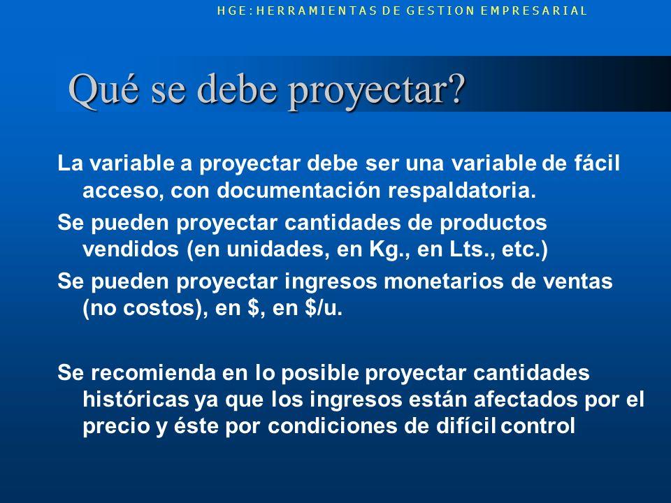 Qué se debe proyectar? Qué se debe proyectar? La variable a proyectar debe ser una variable de fácil acceso, con documentación respaldatoria. Se puede