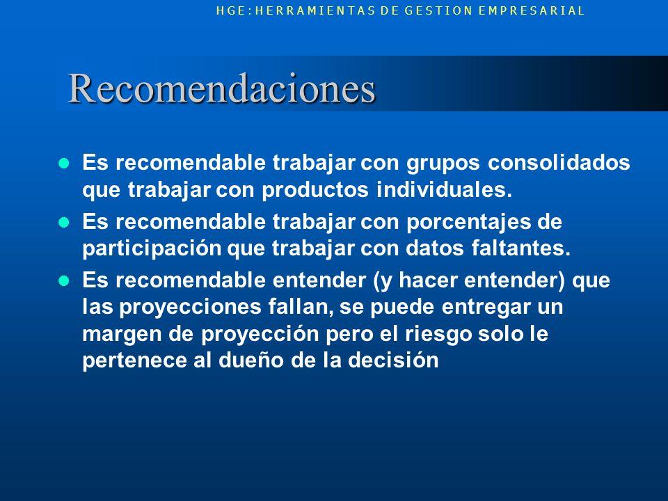 Recomendaciones Recomendaciones Es recomendable trabajar con grupos consolidados que trabajar con productos individuales. Es recomendable trabajar con