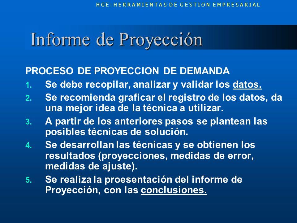 Informe de Proyección Informe de Proyección PROCESO DE PROYECCION DE DEMANDA 1. Se debe recopilar, analizar y validar los datos. 2. Se recomienda graf