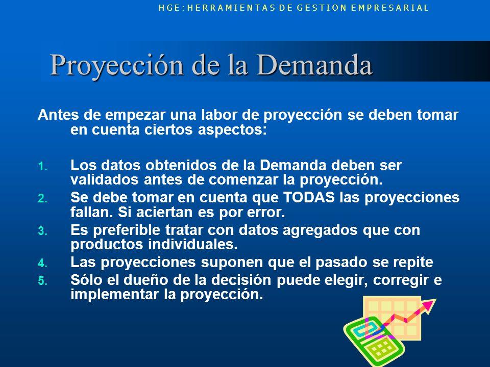 Proyección de la Demanda Proyección de la Demanda Antes de empezar una labor de proyección se deben tomar en cuenta ciertos aspectos: 1. Los datos obt