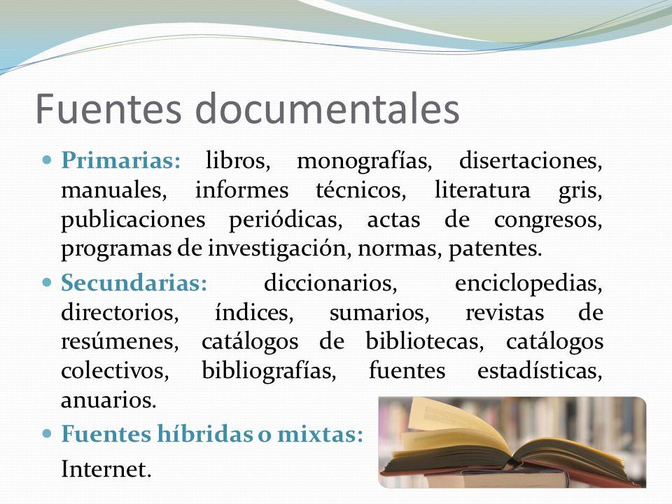 Fuentes documentales Primarias: libros, monografías, disertaciones, manuales, informes técnicos, literatura gris, publicaciones periódicas, actas de c