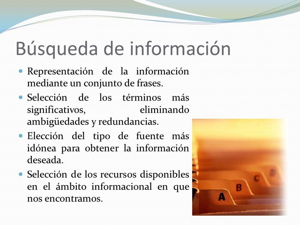 Búsqueda de información Representación de la información mediante un conjunto de frases. Selección de los términos más significativos, eliminando ambi