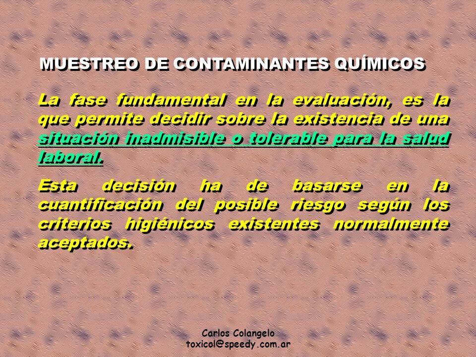Carlos Colangelo toxicol@speedy.com.ar MUESTREO DE CONTAMINANTES QUÍMICOS La fase fundamental en la evaluación, es la que permite decidir sobre la exi