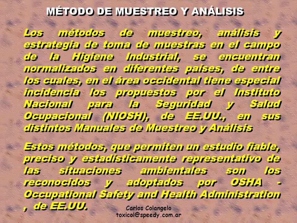 Carlos Colangelo toxicol@speedy.com.ar MÉTODO DE MUESTREO Y ANÁLISIS Los métodos de muestreo, análisis y estrategia de toma de muestras en el campo de