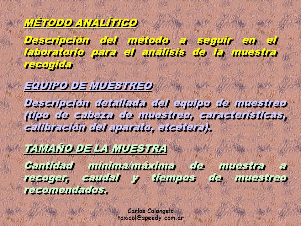 Carlos Colangelo toxicol@speedy.com.ar MÉTODO ANALÍTICO Descripción del método a seguir en el laboratorio para el análisis de la muestra recogida EQUI