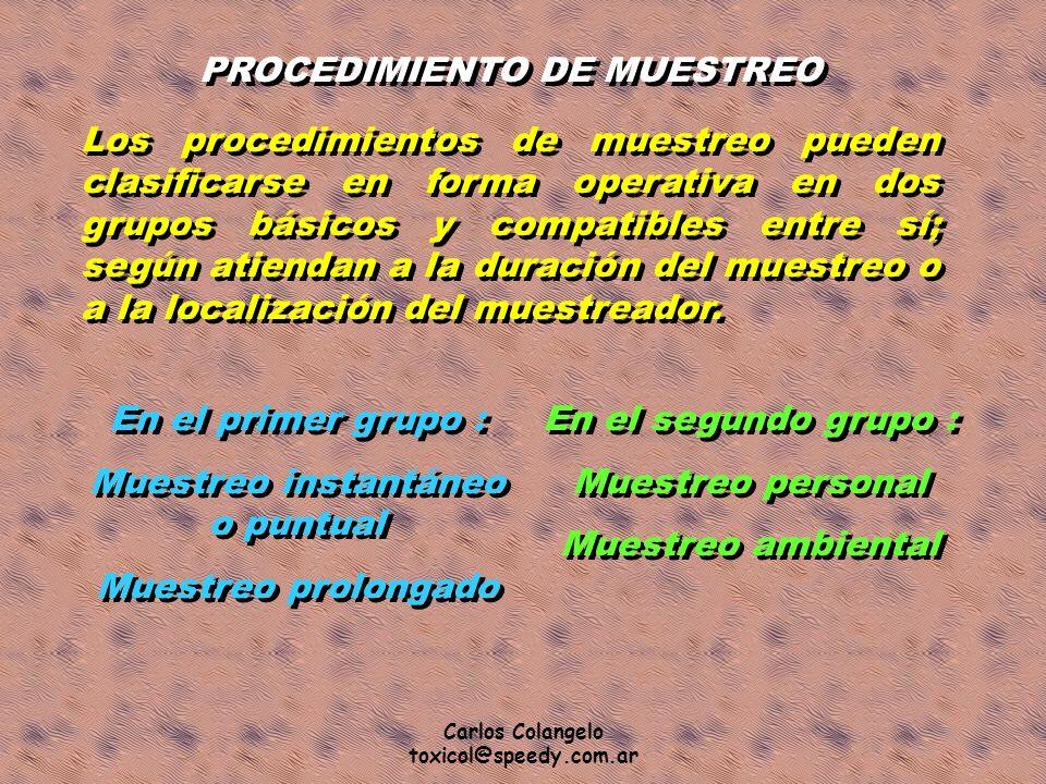 Carlos Colangelo toxicol@speedy.com.ar PROCEDIMIENTO DE MUESTREO Los procedimientos de muestreo pueden clasificarse en forma operativa en dos grupos b