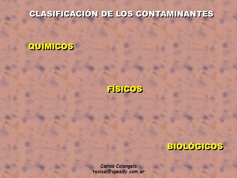 Carlos Colangelo toxicol@speedy.com.ar CLASIFICACIÓN DE LOS CONTAMINANTES QUÍMICOS FÍSICOS BIOLÓGICOS