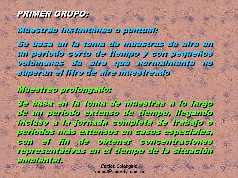 Carlos Colangelo toxicol@speedy.com.ar PRIMER GRUPO: Muestreo instantáneo o puntual: Se basa en la toma de muestras de aire en un período corto de tie