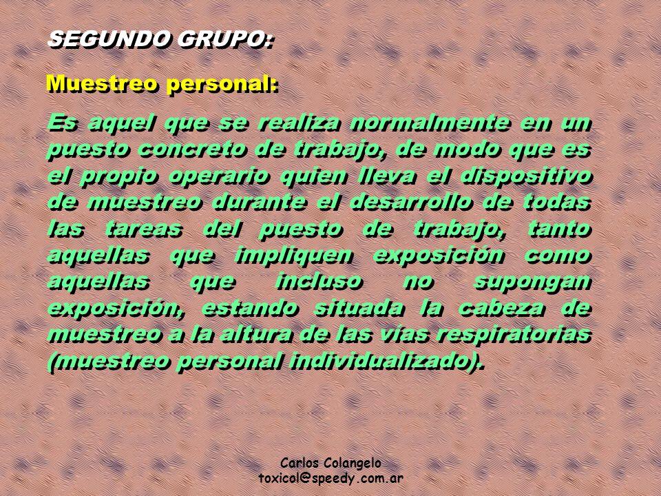 Carlos Colangelo toxicol@speedy.com.ar SEGUNDO GRUPO: Muestreo personal: Es aquel que se realiza normalmente en un puesto concreto de trabajo, de modo
