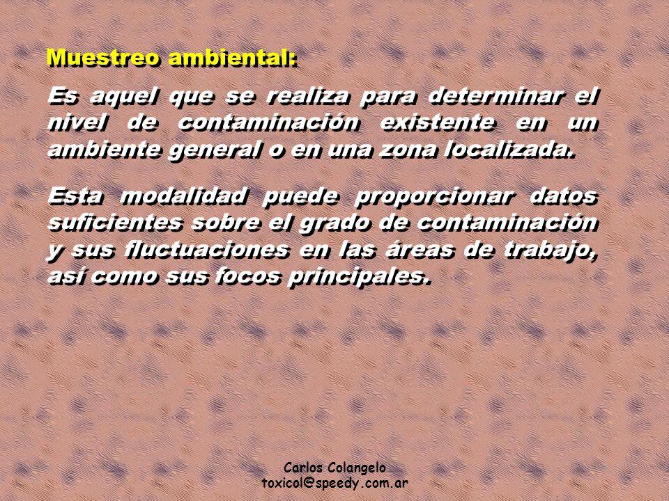 Carlos Colangelo toxicol@speedy.com.ar Muestreo ambiental: Es aquel que se realiza para determinar el nivel de contaminación existente en un ambiente