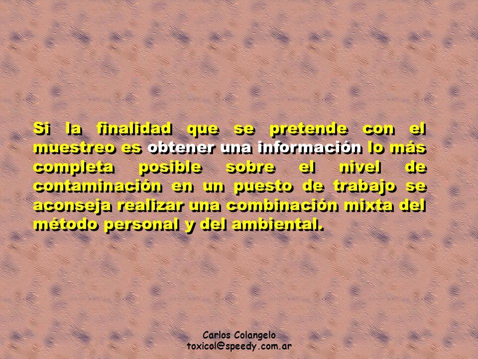 Carlos Colangelo toxicol@speedy.com.ar Si la finalidad que se pretende con el muestreo es obtener una información lo más completa posible sobre el niv