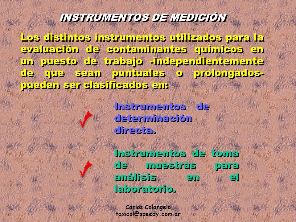 Carlos Colangelo toxicol@speedy.com.ar INSTRUMENTOS DE MEDICIÓN Los distintos instrumentos utilizados para la evaluación de contaminantes químicos en