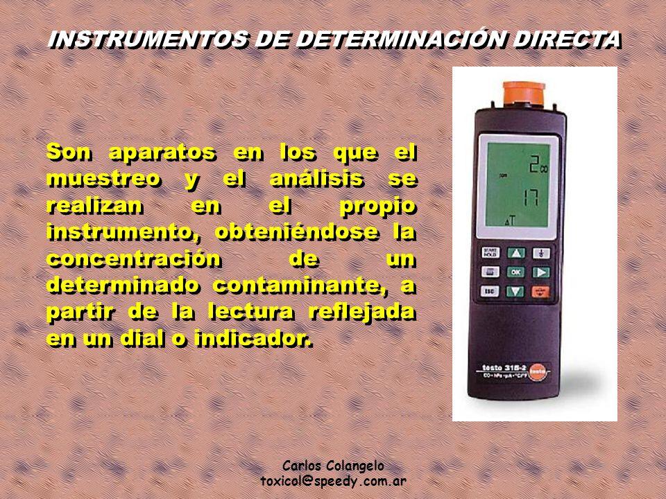Carlos Colangelo toxicol@speedy.com.ar INSTRUMENTOS DE DETERMINACIÓN DIRECTA Son aparatos en los que el muestreo y el análisis se realizan en el propi