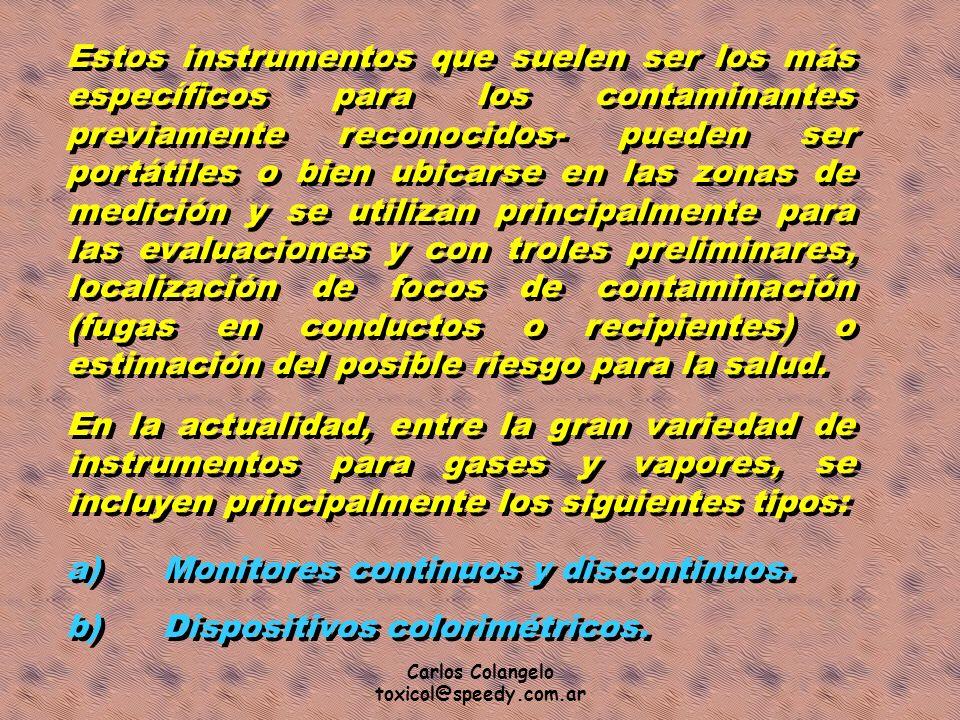 Carlos Colangelo toxicol@speedy.com.ar Estos instrumentos que suelen ser los más específicos para los contaminantes previamente reconocidos- pueden se