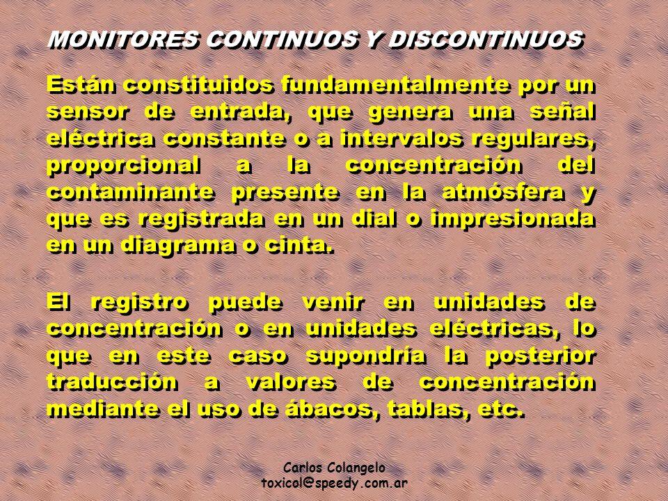 Carlos Colangelo toxicol@speedy.com.ar MONITORES CONTINUOS Y DISCONTINUOS Están constituidos fundamentalmente por un sensor de entrada, que genera una