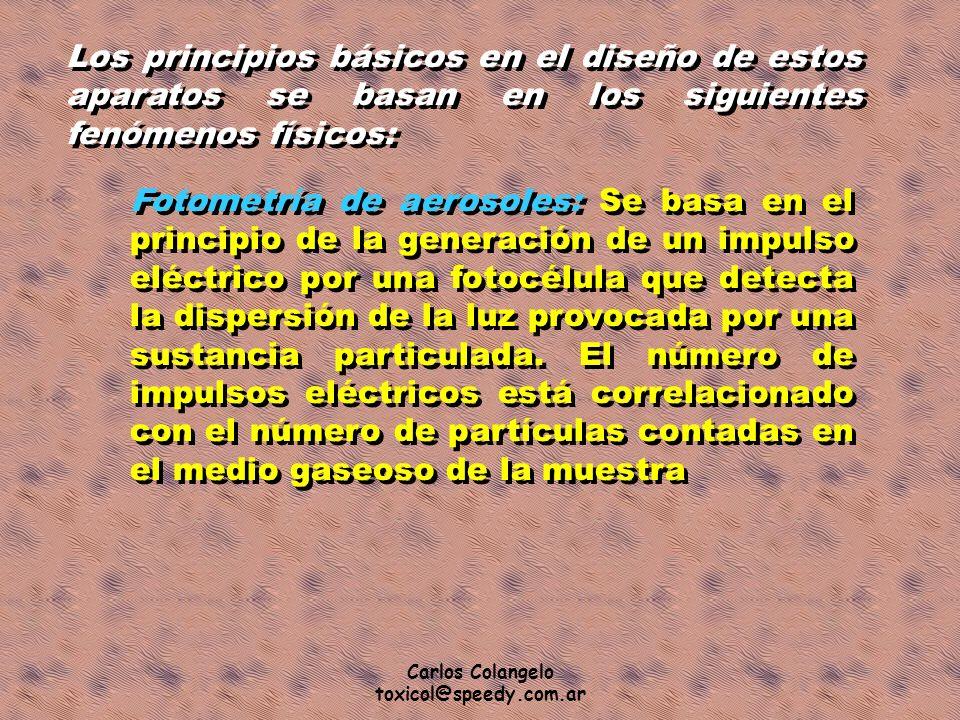 Carlos Colangelo toxicol@speedy.com.ar Los principios básicos en el diseño de estos aparatos se basan en los siguientes fenómenos físicos: Fotometría