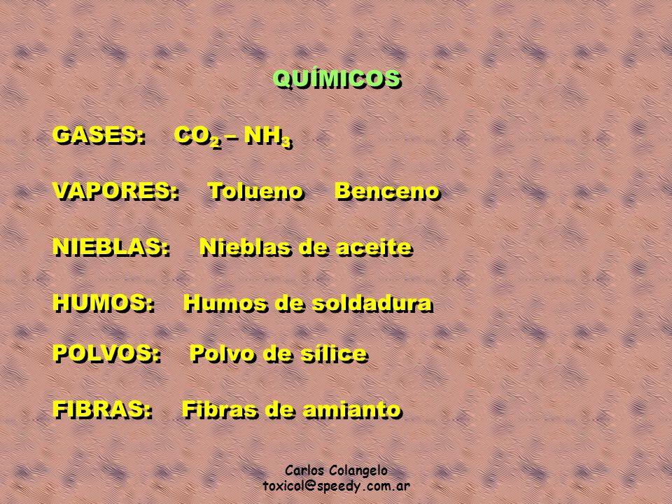 Carlos Colangelo toxicol@speedy.com.ar QUÍMICOS GASES: CO 2 – NH 3 VAPORES: Tolueno Benceno NIEBLAS: Nieblas de aceite HUMOS: Humos de soldadura POLVO