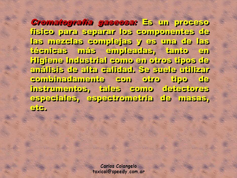 Carlos Colangelo toxicol@speedy.com.ar Cromatografía gaseosa: Es un proceso físico para separar los componentes de las mezclas complejas y es una de l